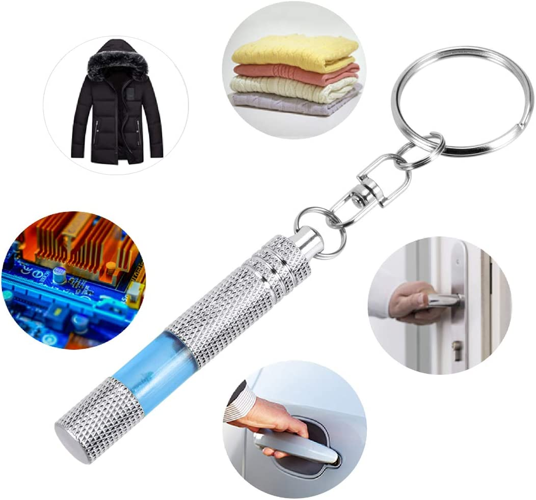 uxcell Anti-Static Keychain Static Shock Eliminator Car Electricity Discharge Remover ESD Keyring Bright Chrome Plated Black
