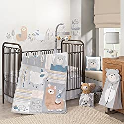 Lambs & Ivy Happi By Dena Little Llama Animal Unisex 4 Piece Crib Bedding Set, Blue/Grey