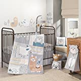 Lambs & Ivy Happi By Dena Little Llama Animal 4 Piece Crib Bedding Set, Blue/Grey