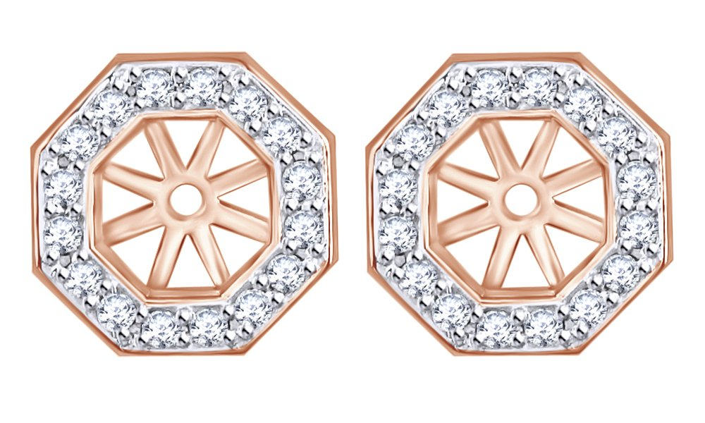 White Natural Diamond Octagon Jackets for Stud Earring Stud in 14k Solid Rose Gold (0.40 Cttw) by AFFY