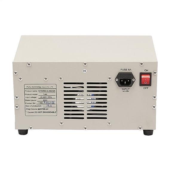 Autovictoria Reflow Infrared Heater Máquina de soldadura por Reflujo T962 Horno de Reflujo 800W 180 x 235 mm Máquina de Soldadura de Calentador Infrarrojo ...