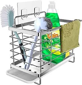 Organizador Sink Caddy Soporte para Utensilios de Cocina Organizador del pa/ño del plato del tenedor de la bandeja del jab/ón de la esponja del estante del fregadero telesc/ópico