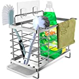 Orimade Kitchen Sink Caddy Organizer with Drain Pan Adhesive and Countertop Dual-Use Sponge Brush Soap Dish Holder SUS304 Sta