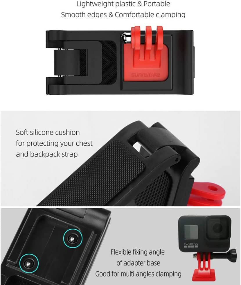MeterMall Portable for Universal Backpack Clamp Adjustable Clip Mount Knapsack Belt Camera Holder for GoPro Osmo Action Sports Camera Accessories