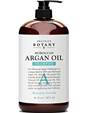 Moroccan Argan Oil Shampoo 16 fl oz - Sulfate Free - Volumizing & Moisturizing Gentle on Curly & Color Treated Hair Daily Use for Men & Women - Infused with Keratin - Brooklyn Botany