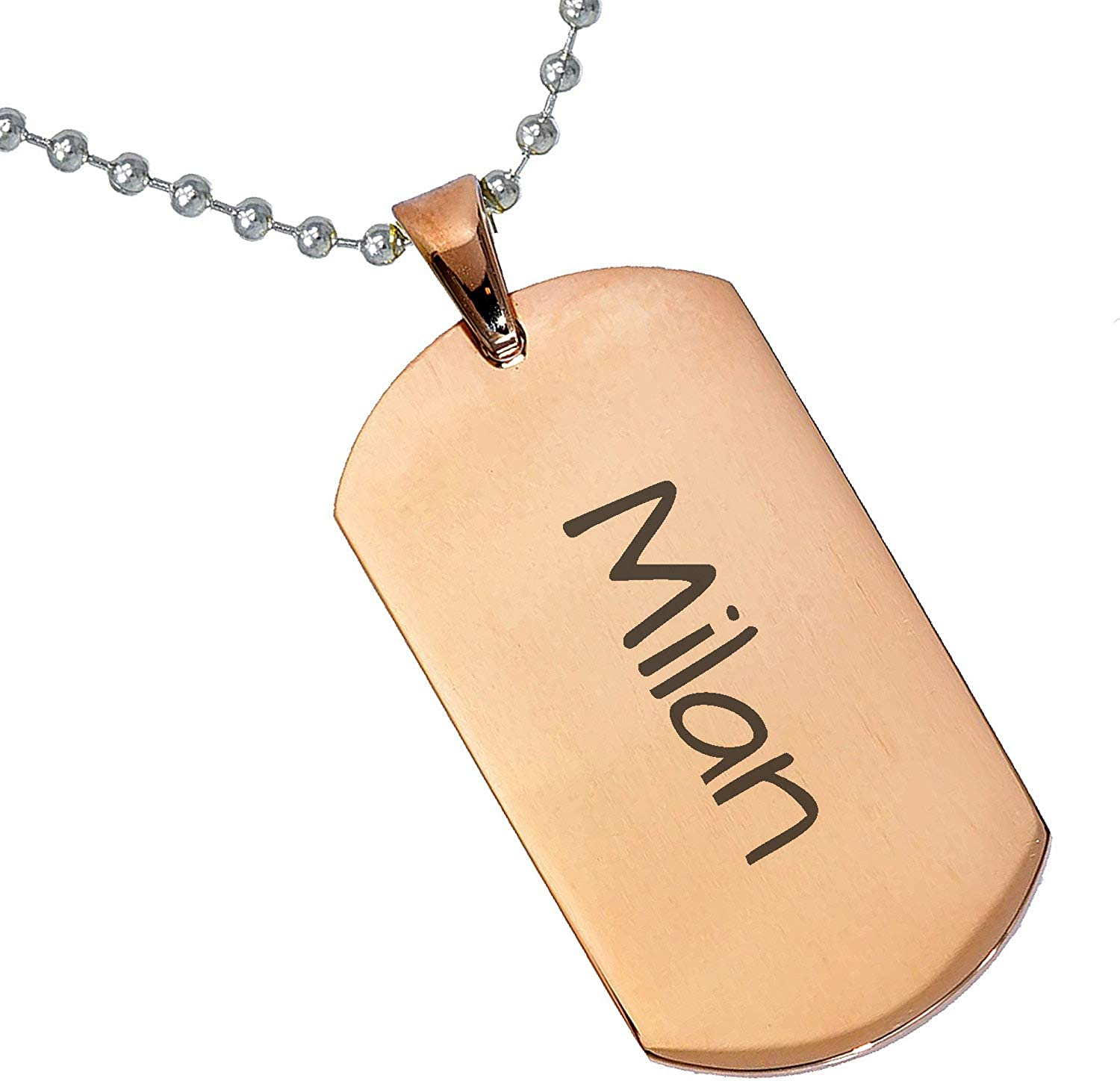 Stainless Steel Silver Gold Black Rose Gold Color Baby Name Milan Engraved Personalized Gifts For Son Daughter Boyfriend Girlfriend Initial Customizable Pendant Necklace Dog Tags 24 Ball Chain