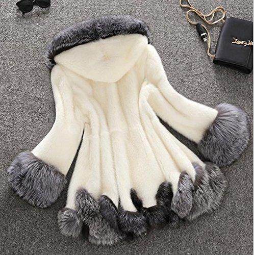 Chaud À D'hiver Fourrure Solide Huaishu De Manteau Capuche Tops Veste Long Longues Manches Femmes Simple Pardessus Blanc Fausse wqp0w46