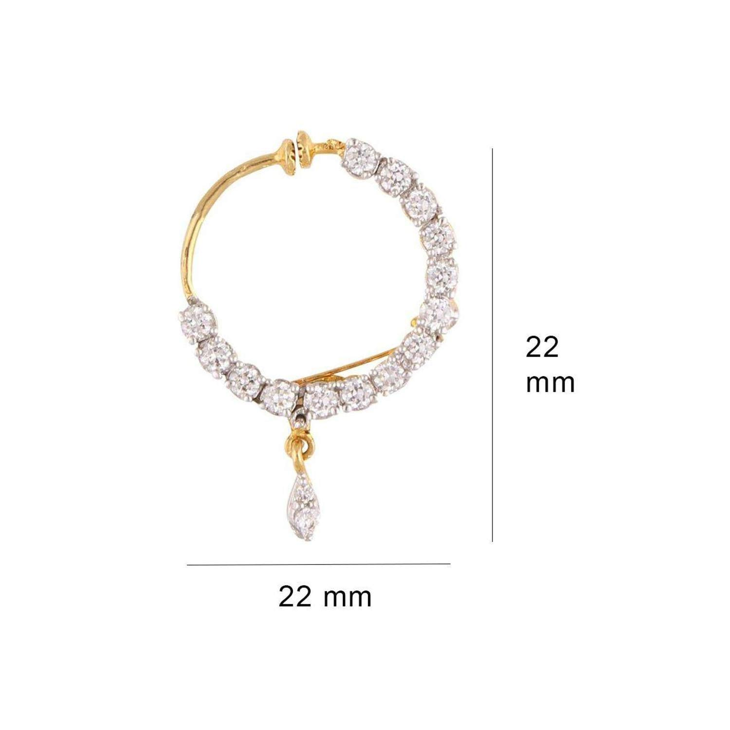 c7254d406758 Buy Geode Delight Gold Plated American Diamond Non Piercing Nose Pin for  Women   Girls Online at Low Prices in India