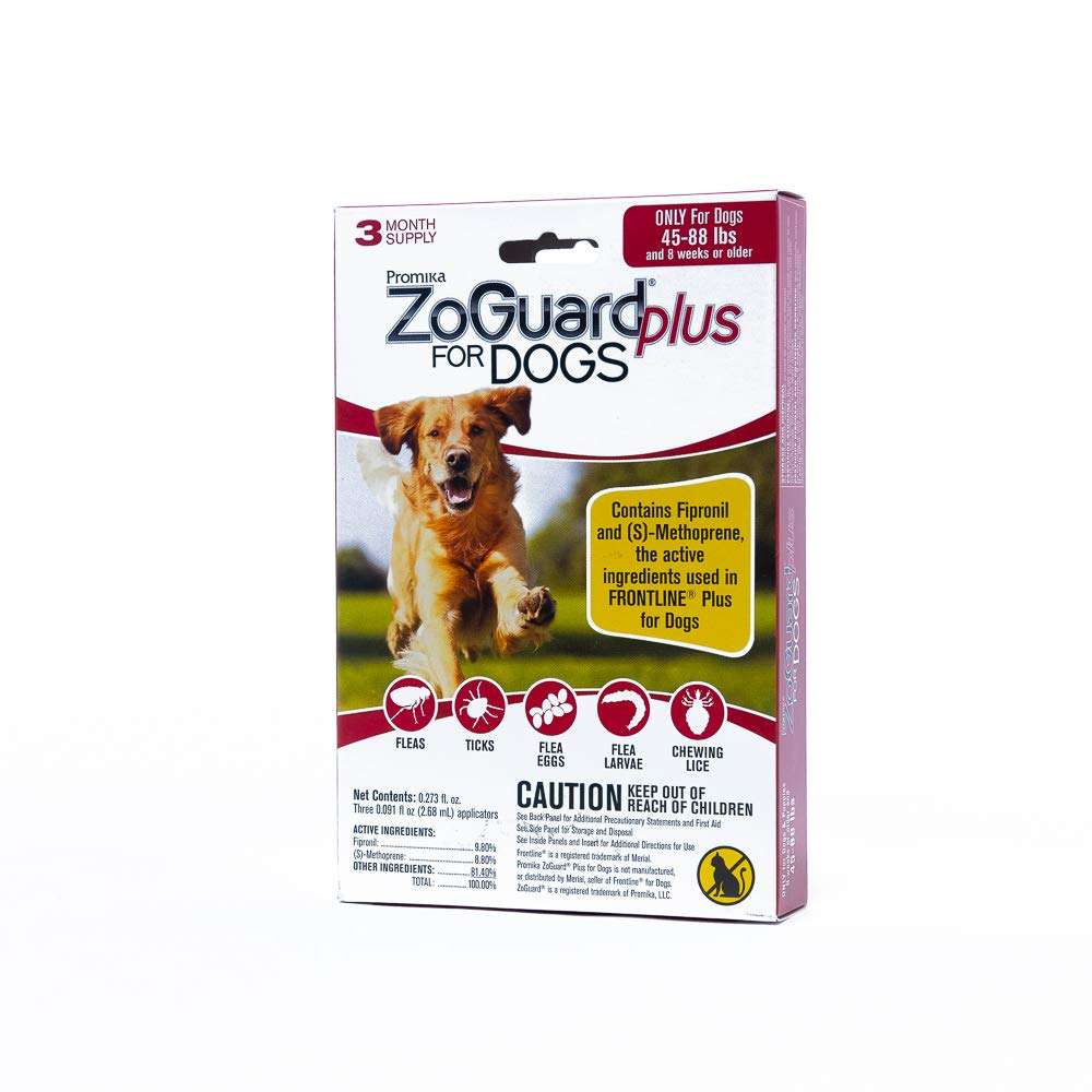ZoGuard Plus Flea and Tick Prevention for Dog, Large 45-88 lbs, 3 Months, 3 Doses