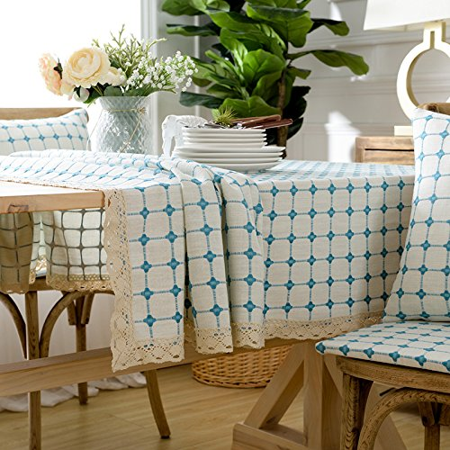 Creek Ywh Simple Asian cotton and linen tablecloth fabric small fresh lattice rectangular coffee table dining table home tablecloth, bluee lattice, 150150cm