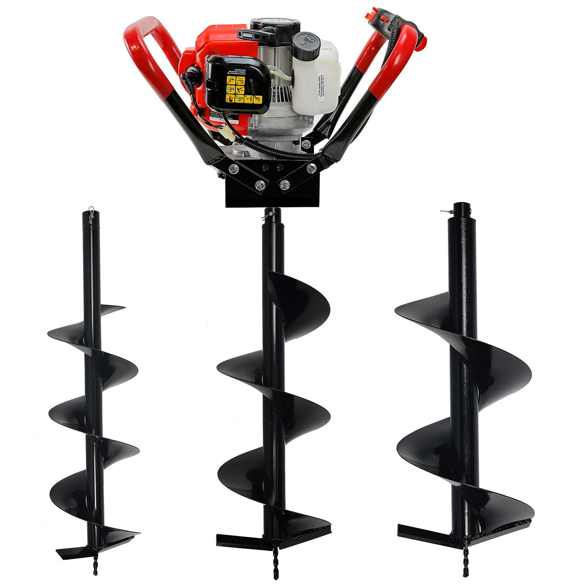V-Type 55CC 2 Stroke Gas Posthole Digger One Man Auger (Digger + 8 10 12Bits) XtremepowerUS