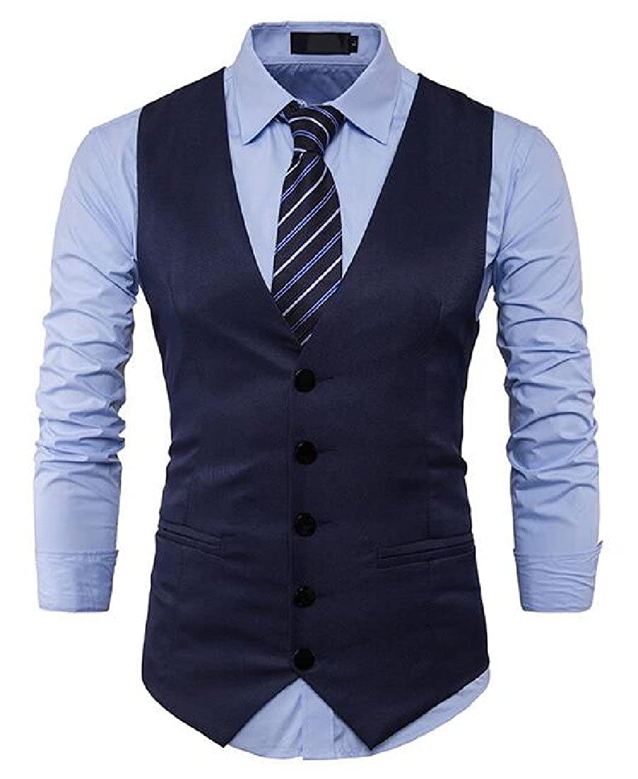 Sheng Xi Mens Single Breasted Stylish Solid-Colored Wedding Suit Vest