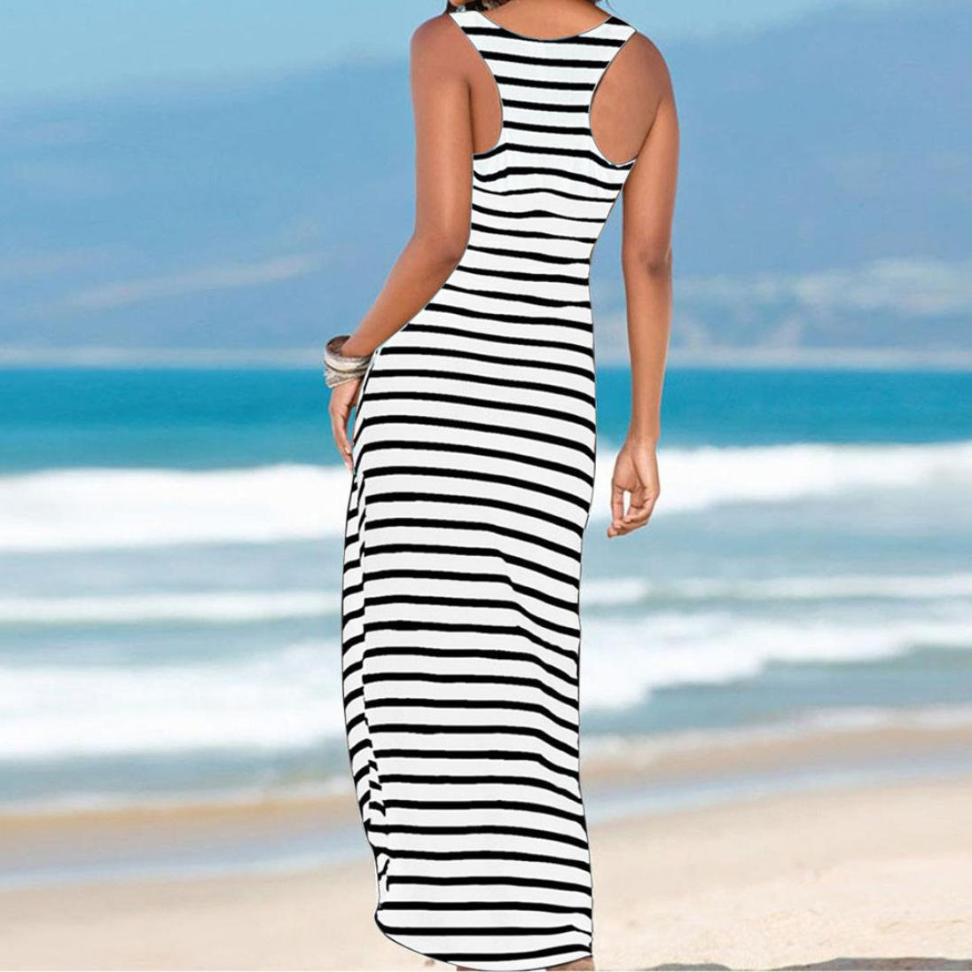 51d5032cda Black Striped Dress for Women Maxi Beach Sleeveless Racerback Sundress  Boatneck larger image