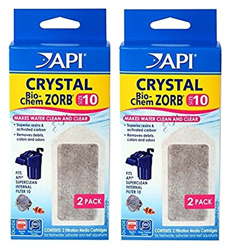 API Crystal Bio-Chem Zorb Internal Filter Cartridge (2x2 Pack) Size (Pet Oasis Replacement Filter)
