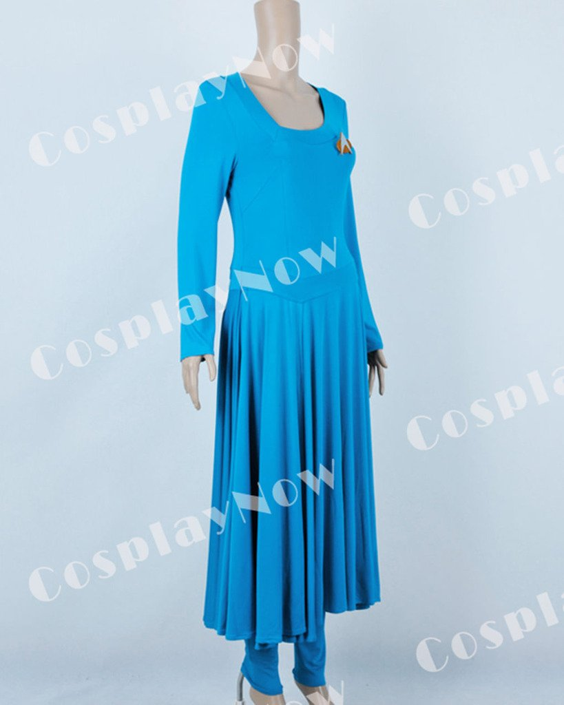 CosplayNow Star Trek Deanna Troi Cosplay Costume Dress Blue Custom Made by CosplayNow (Image #3)