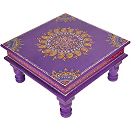 Lalhaveli Indian Hand Painted Wooden Puja Chowki Table (12x12x6-inch)