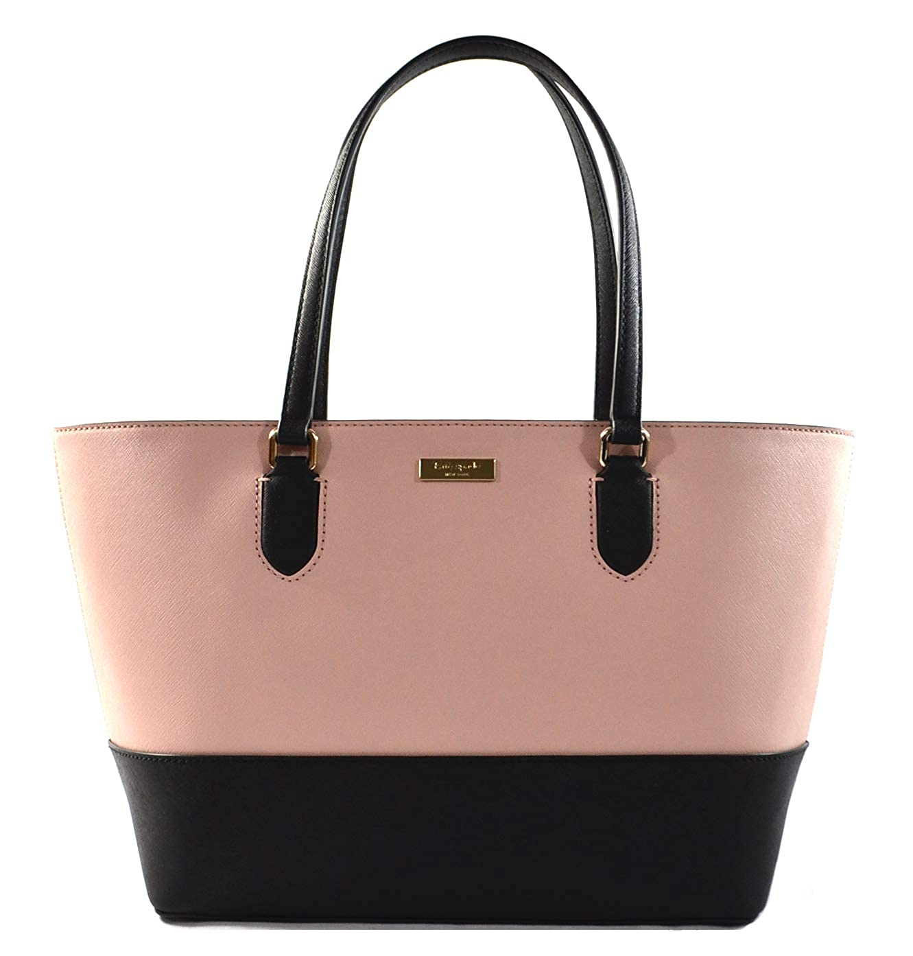 choose best how to serch amazing quality Kate Spade Medium Dally Laurel Way Saffiano Leather Tote Shoulder Bag Purse  Handbag, Color Block Pink Black