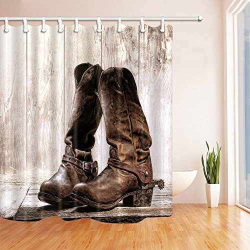 NYMB Western Cowboy Leather Boots on Wooden Bath Curtain, Polyester Fabric Waterproof Shower Curtain, 69X70 in, Shower Curtains Hooks Included, Brown(Multi16)
