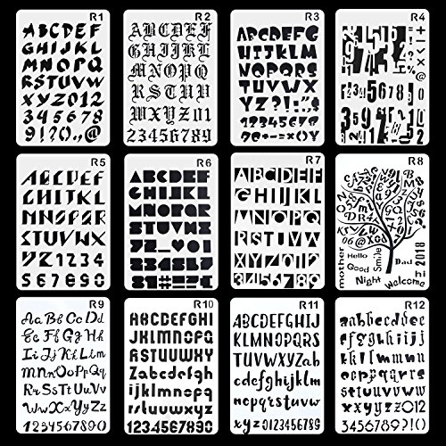 Aolvo - Plantilla de 12 plantillas para diario, grabado, diseño de cartas, para manualidades, manualidades, diseños multiusos, plantillas de plástico para ...