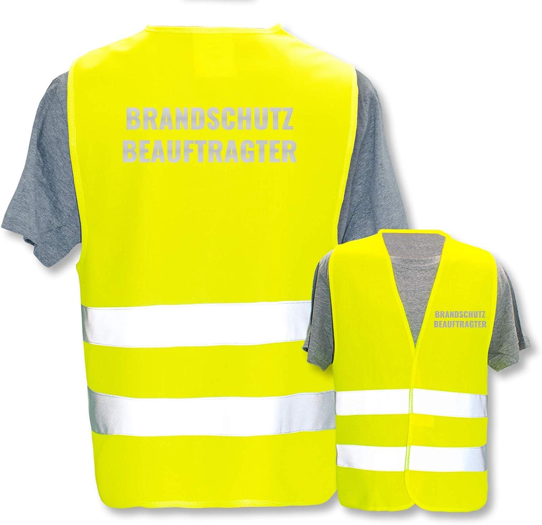 Gr/ö/ße XL//XXL * Farbe Bedruckte Warnwesten mit ISO-Leuchtstreifen * Standard- oder Reflex-Druck * Erste Hilfe und Brandschutz * Begriff: Brandschutzbeauftragter : Neon Gr/ün Reflektierend
