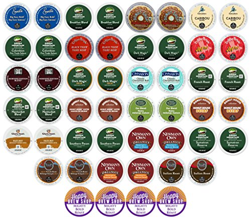 Variety Coffee Pods Pack (50-count TOP BRAND COFFEE K-Cup Variety Sampler Pack, Single-Serve Cups for Keurig Brewers)