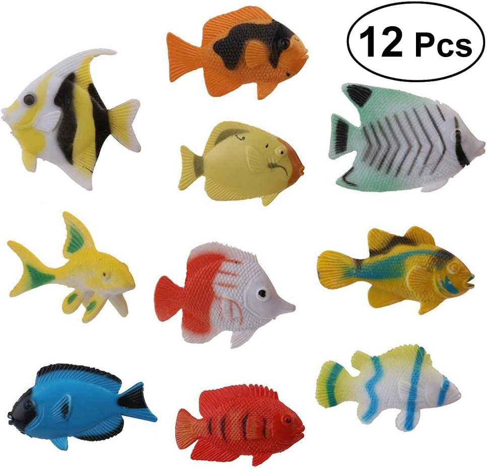 YeahiBaby Modelo de Figuras de Peces Marinos Criaturas Marinas - 12pcs Material de PVC Animal Ocean Juguetes Miniatura de baño