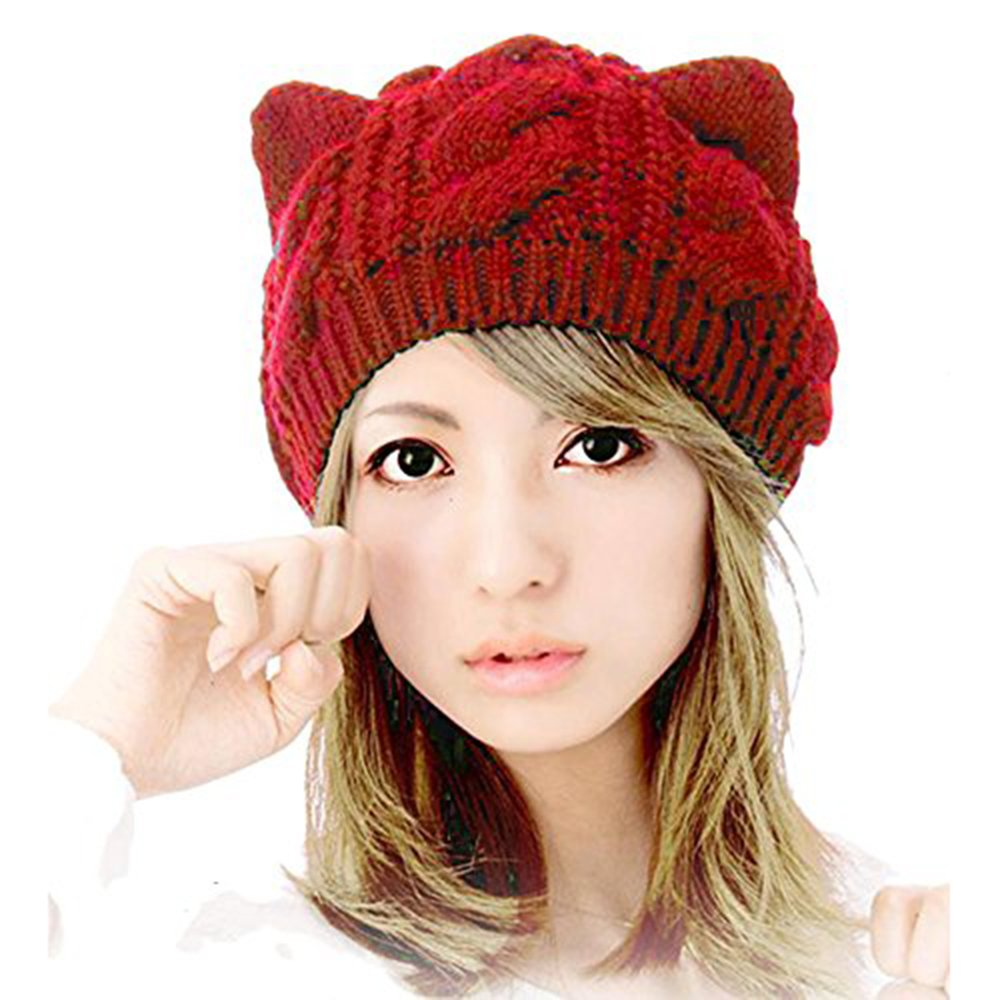 Bodhi2000® Women's Fashion Cut Warm Cat Ears Hemp Flowers Beanie Knitted Hat G162938TNCTD5421