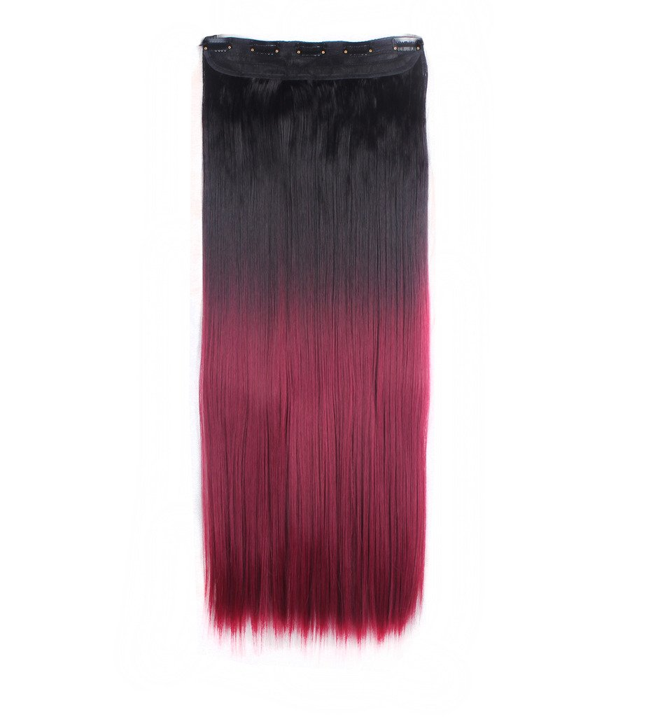 FIRSTLIKE 26'' Inch Straight Black To Wine Red Clip In Hair Extensions Thick 3/4 Full Head Long One Piece 5 clips Soft Women Beauty Hairpiece by FIRSTLIKE (Image #1)