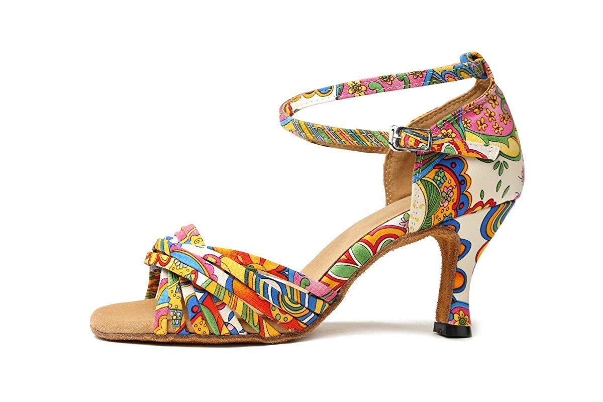 Qiusa GL255 Gedruckt Cross Strap MultiFarbe Satin Designer Tanzschuhe Tanzschuhe Tanzschuhe Hochzeit Sandalen für Frau UK 2 (Farbe   - Größe   -) c95fba
