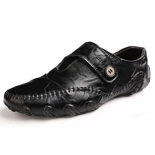 Zapatos De Cuero para Hombres Mocasines Casuales Zapatos De Vestir Antideslizantes Zapatos para Caminar Planos: Amazon.es: Zapatos y complementos