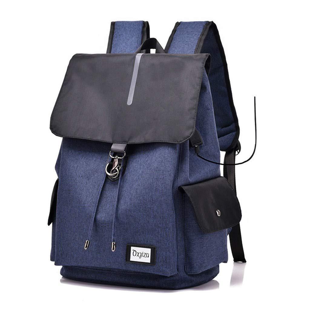 bluee BAJIANLI USB interface charging smart backpack canvas polyester shoulder bag,bluee