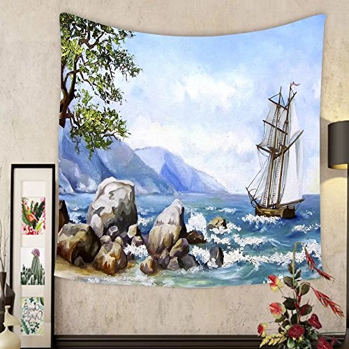 Madeleine Ellis Custom tapestry oil painting sea views wallpaper with ship and sea