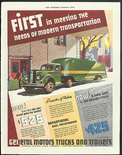 First in modern transportation General Motors Truck ad 1936 streamlined van