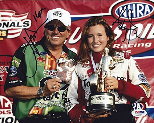 2X AUTOGRAPHED John Force & Ashley Force NHRA SERIES CHAMPIONS (Victory Lane Trophy) Father & Daughter 8X10 Inch Dual Signed NASCAR Glossy Photo with PSA COA