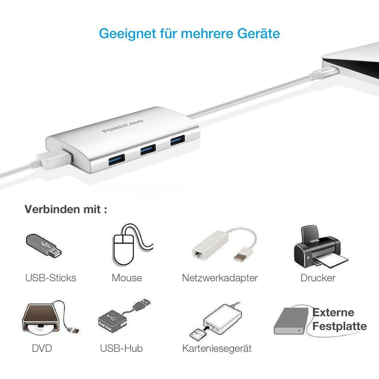 POWERADD Type C Hub USB 3.0 Super Speed Datengeschwindigkeit, für MacBook, Phones, USB Flash Drive,PC (4ports)