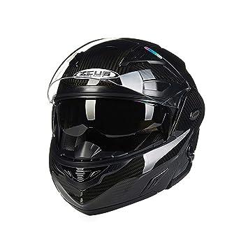 ADHW Casco de la motocicleta, Casco abatible de cara completa para adultos Gafas dobles de