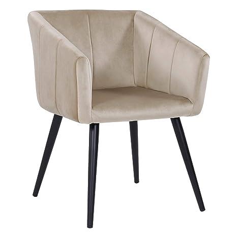 Duhome Esszimmerstuhl Aus Stoff Samt Creme Beige Farbauswahl Retro Design Stuhl Mit Ruckenlehne Sessel Metallbeine 8065
