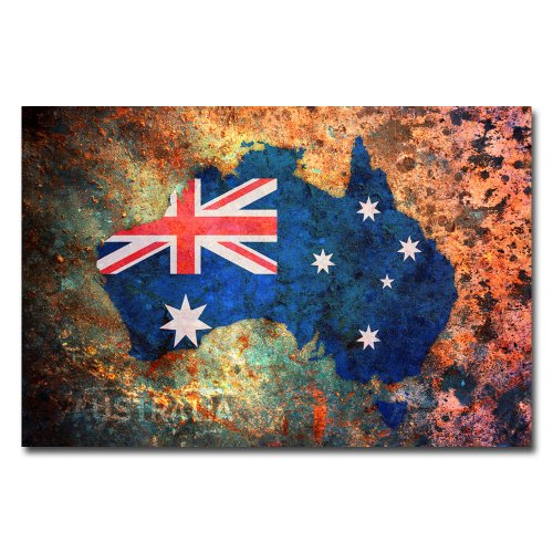 Australia Flag Map by Michael Tompsett,  Canvas Wall Art