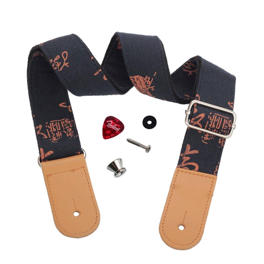 Dulphee Musicals Ukulele Strap Country Style Soft Cotton Linen, Adjustable Ukulele Strap-Genuine Leather Ukulele Shoulder Strap, 1 Picks (LightGray) US-12
