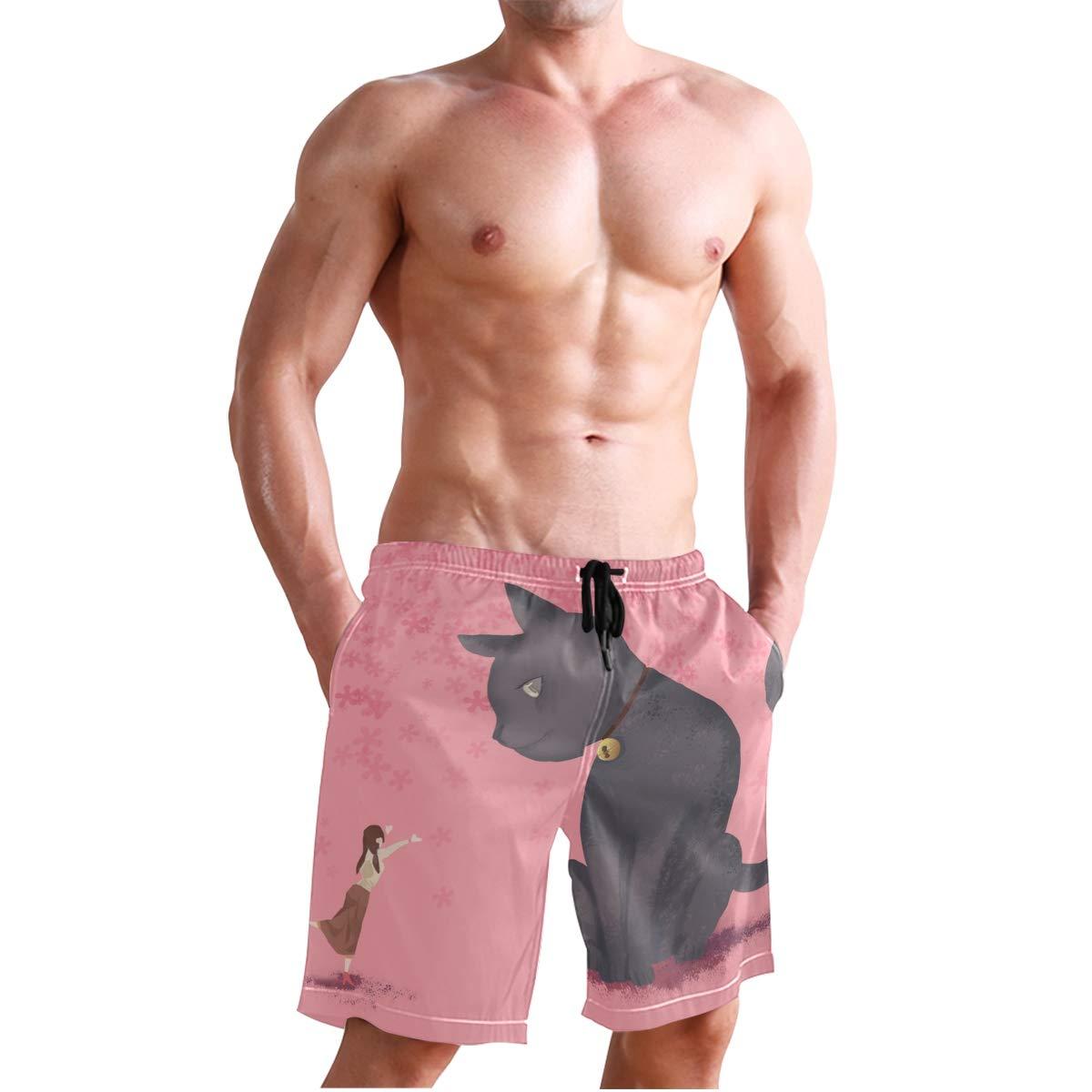 DEYYA Mens Girls Encounter Big Cats Summer Beach Shorts Pants Swim Trunks Board Short for Men