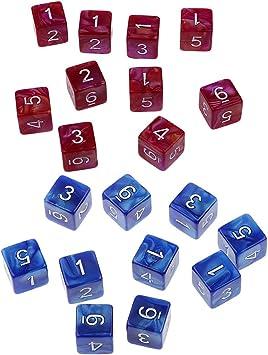 B Blesiya D6 Dados Numeral para Juego de Mesa Juegos de Tablero 20 Piezas - Rojo y Azul: Amazon.es: Juguetes y juegos