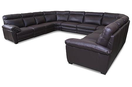 Sofa Couch Editions Leder Wohnlandschaft U074 Braun Amazon De