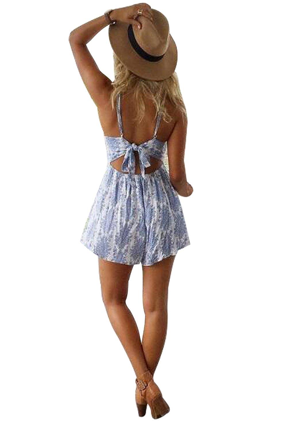 Maximgr Womens Sleeveless Bohemian Backless Romper Short I Am Cotton Blue Sea Summer Beach Jumpsuit Clothing