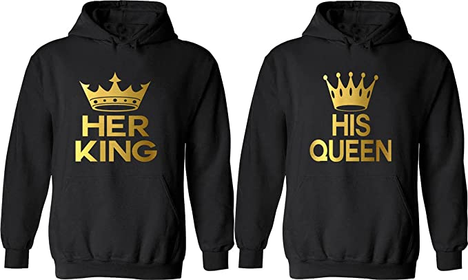 68d4dd08799 Her King & His Queen - Matching Couple Hoodies - His and Her Love Sweaters