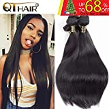 QTHAIR 10A Indian Virgin Hair Straight Human Hair(18 20 22 24,400g)100% Unprocessed Straight Indian Virgin Hair Weave Natural Black Color Indian Strai