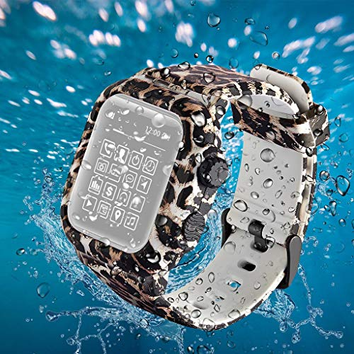 Sodoop Compatible for Apple Watch Series 3 42mm,Fashion Waterproof Silicone Leopard Printing Sports Strap Replacement Wristband for iWatch Series 3 42mm,Sport &Edition ()
