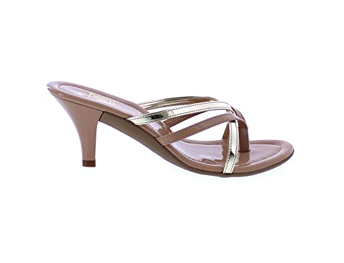 6a6aec3e2dd96 Maker's Gina-3 Women's Strappy Vegan Leather Glitter Kitten Heel ...