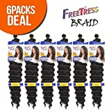 "FreeTress Synthetic Hair Braids Deep Twist Bulk 22"" (6-Pack, 1B)"