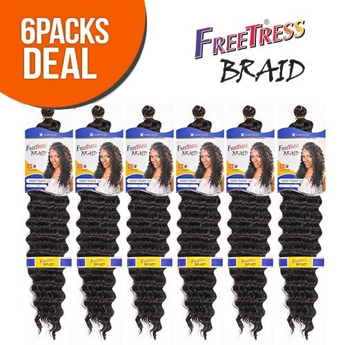 FreeTress Synthetic Hair Braids Deep Twist Bulk 22'' (6-Pack, 1B) by Freetress