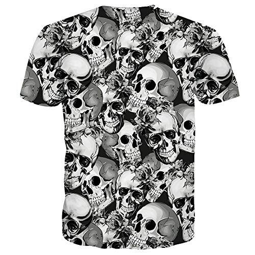 RAISEVERN Unisex Schädel 3D Print Lustige Herren Kurzarm Sommer Tops T Shirts M
